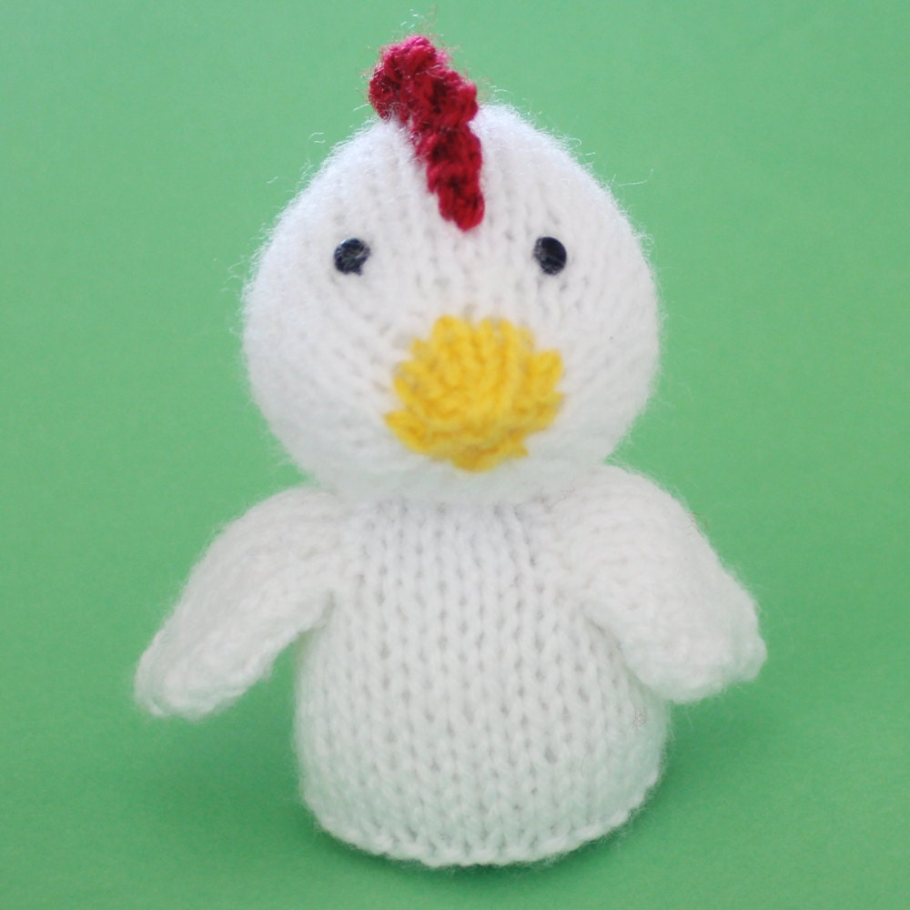 Knitting Patterns Toys Finger Puppets : Chicken Toy Knitting Pattern PDF Legs Egg Cozy & Finger