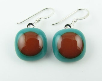 Teal & Caramel Fused Glass Earrings. Made To Order. Fused Glass Jewelry. Handcut and designed in Texas. Simple Earrings. Everyday Jewelry.