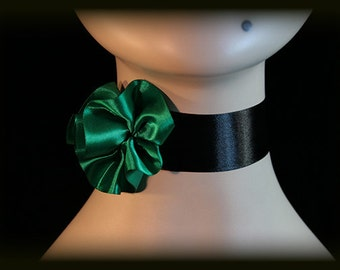 Burlesque Costume Choker, Green and Black Choker, Can-Can Costume Choker