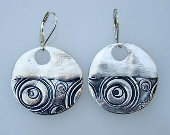 Fine silver swirl earrings