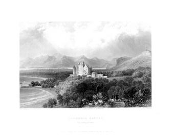 DUNROBIN Castle SUTHERLANDSHIRE ~ Scotland Scottish Vintage Antique Art Print Steel Plate Engraving 1830s [InvSctLnd 103