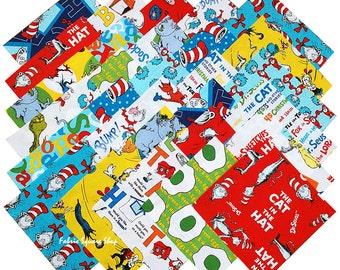 "Robert Kaufman Dr Seuss Favorites Returns Precut 6.5"" Fabric Quilting Cotton Squares Dr. Seuss"