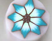 Turquoise and Spring Green Flower Cane, Polymer Clay Millefiori, Raw Cane 520