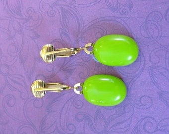 Clip On Earrings, Lime Green Dangle Clipons, Non Pierced Earrings, Gift for Her, Gold Tone Clipons Findings - Tasha - 268 -4