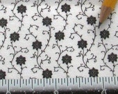 Dollhouse Miniature Upholstery Apparel FABRIC Victorian Grey Damask Vine 1/12th