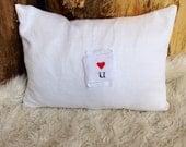 White linen love you letter pillow