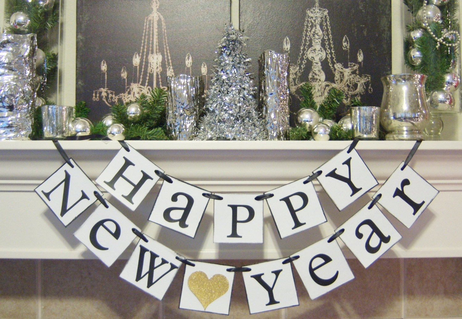 Happy new year banner new years party new years decorations for Decoration new year