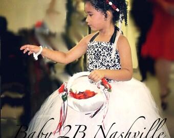 Damask Dress Black White Dress Flower Girl Dress, Wedding Dress White Dress Black Dress Tutu Dress Tulle Dress Toddler Dress Girls Dress