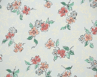 1950s Vintage Wallpaper by the Yard - Floral Wallpaper with Orange Flowers and Metallic Gold on White