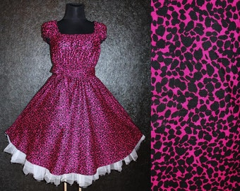 40s 50s RockaBilly PINK LEOPARD DRESS Pin Up Plus Size 22 24 26 Black Cheetah Swing Dance Summer 3X 4X