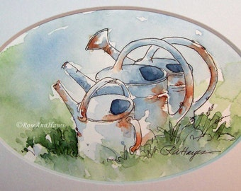 Three Vintage Watering Cans Original Watercolor Painting