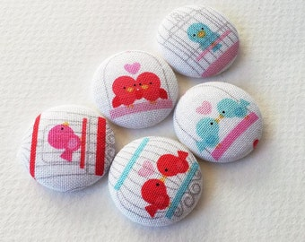 bird print fabric covered buttons in cotton - love birds - bird cage - size MEDIUM -made in the USA -