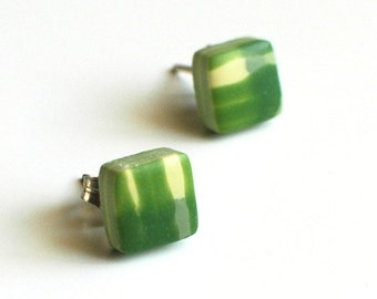 SALE, Green and Yellow plaid post earrings