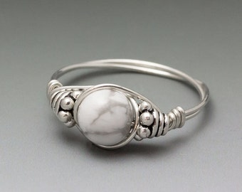 White Howlite Bali Sterling Silver Wire Wrapped Bead Ring - Made to Order, Ships Fast!