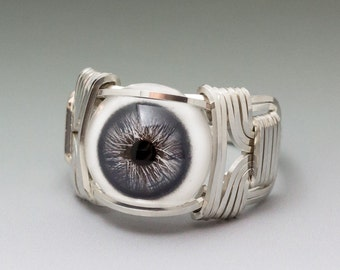 Slate Blue Glass Eye Eyeball Sterling Silver Wire Wrapped Ring ANY size
