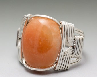 Peach Aventurine Cabochon Sterling Silver Wire Wrapped Ring ANY size