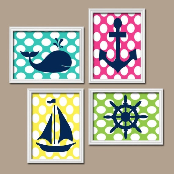 Nautical Bathroom Wall Decor : Nautical bathroom wall art canvas or prints girl by trmdesign