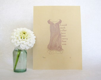 CLEARANCE Jane Austen Art Print - Regency fashion illustration - Emma