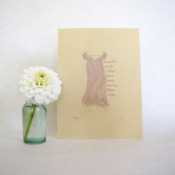 CLEARANCE Jane Austen Art Print - Regency fashion illustration - Emma
