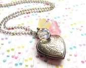 Small Heart Locket. Pink Flower. Yellow Flower. Crystal Jewelry. Photo Jewelry. Tiny Heart. Small Locket. Gift for Friend. Keepsake.