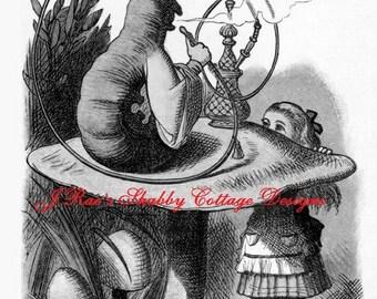 Vintage Black & White Tenniel Illustration Alice In Wonderland Hooka Smoking Caterpillar Choose 5x7 or 8x10 inch size