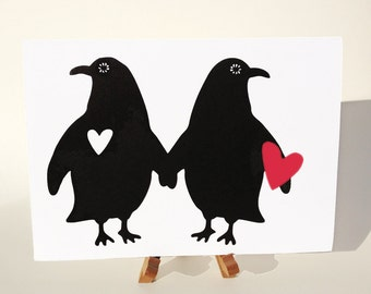 Silhouette Penguins Paper Cut Silhouette Two Of Hearts Scissor Cut Handmade Blank Card Stationary Black White Red I Love You
