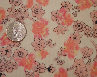 New pretty pink and peach floral on cotton jersey knit fabric 1 yard