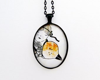 Bird necklace, bird pendant, photo jewelry, nature bird lover, bird illustration
