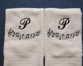 Monogram Music Theme HAND/KITCHEN Towels - Set of 2 - Custom Color Orders Welcome