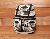 ECUADOR woven tapestry 70s 80s BOHEMIAN unisex drawstring BACKPACK