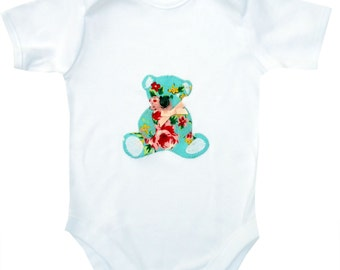 Teddy Bear Babygro - Floral / Girls Baby Shirt / All in One / One Piece / New Baby / Baby Clothes