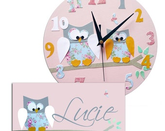 Owl Clock and Personalized Door Sign Gift Set / Children's / Girls Wall Clock / Personalised Plaque / Nursery Decor