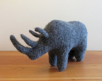 Plush Rhinoceros, Rhino Stuffed Animal. Handknit Felted Toy Children