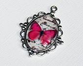 1 Butterfly picture pendant, butterfly picture cabochon, antique silver pendant, zinc alloy pendant 30x21mm Pink