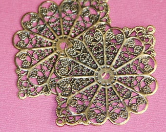 10 pcs of Antiqued brass oval filigree wrap 38x52mm