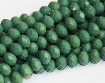 16 inch Strand of Green glass faceted rondelle beads 8x10 mm