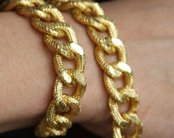 5 ft of Aluminum Chunky heavy chain Curb open link chain  21x15mm,  Gold plated chain, large chunky aluminum chain, gold chain