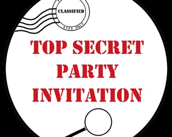 30 Round Stickers  - Birthday Party - TOP SECRET  -   Spy Party - Secret Agent - 1.5  Inches