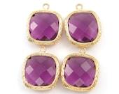 4 Medium Amethyst Purple Pendants with Gold Bezel Frame Purple Charm DIY jewelry Purple Faceted Charm Purple Pendant Earring Drop  PU4-12 4