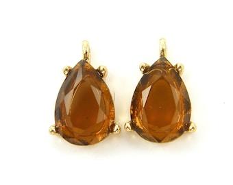 Pair of Amber Drop Rhinestone Charms Brown Teardrop Glass Earring Pendant Findings |G9-5|2