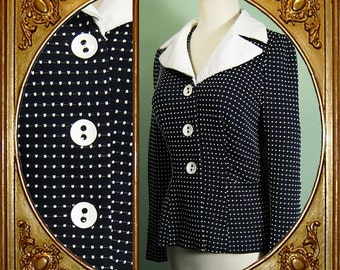 60s navy blue 40s-style peplum jacket with raised Swiss dots. S