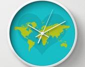 World map Wall clock - Modern clock - mapamundi art - Nursery decor - Decorative Clock -Contemporary decor - Wall Decor - Wall art