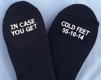 Grooms Socks 'In Case You Get Cold Feet' With CUSTOM DATE  Cute Wedding Gift, Wedding  for Groom, Wedding Gifts