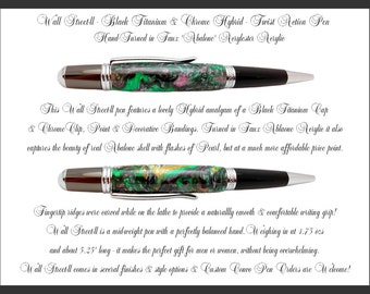 Hand-turned - Abalone-2 - Wall Street-ll Black Titanium & Chrome Twist Action Pen