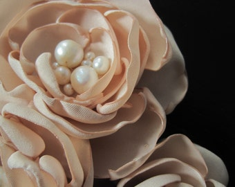 THREE BLOOM fabric flower brooch  corsage pin in deep ivory matte satin with pearls - Ready To Ship