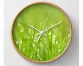 Splender In The Grass Wall Clock Natural History Print Woodland Clock Forest Clock Green Grass Bokeh Sweet Things
