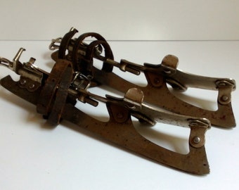 SALE rare antique Barney and Berry metal ice skates - 1881