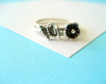 Sterling Silver Stacking Rings Butterfly and Flower