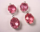 4 Vintage Glass pink  faceted Oval silver  set Rhinestone open back 12x10 1  ring charm