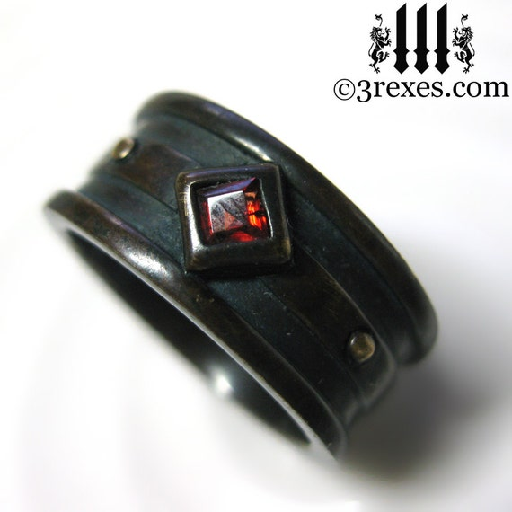 Moorish Gothic One Stone Ring Garnet Wedding Band Brass Size